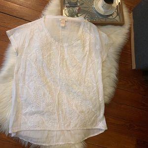 Euc Sundance white Embroidered boho top s